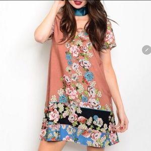 Salmon Floral Dress